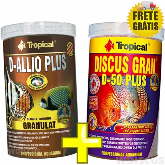Kit Ração Tropical D-50 Discus Gran Plus 110g + D-allio 150g