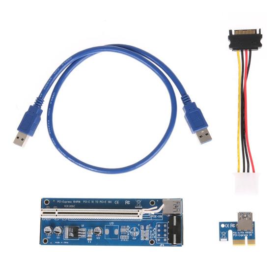 4pin Btc Mineração Pcie Riser Card Pci-e 1 X 16 X Usb 3.0
