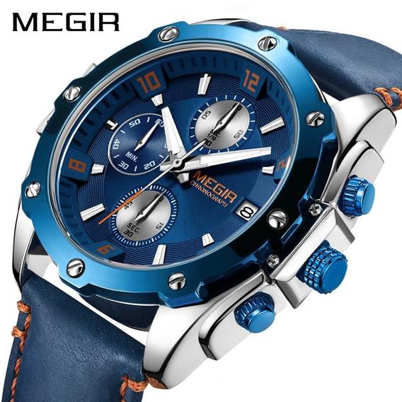 Relógio Masculino Megir Pulseira Couro + Caixa Original