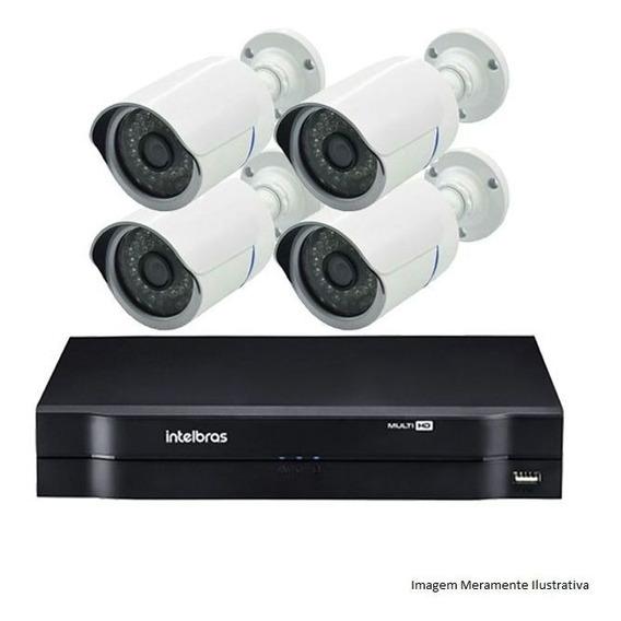 Kit Segurança Dvr Intelbras 4 Ch 4 Câmeras Ahd 720p Hd 500gb