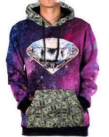 Blusa Moletom Canguru Galaxia Money Diamante Tumblr Swag