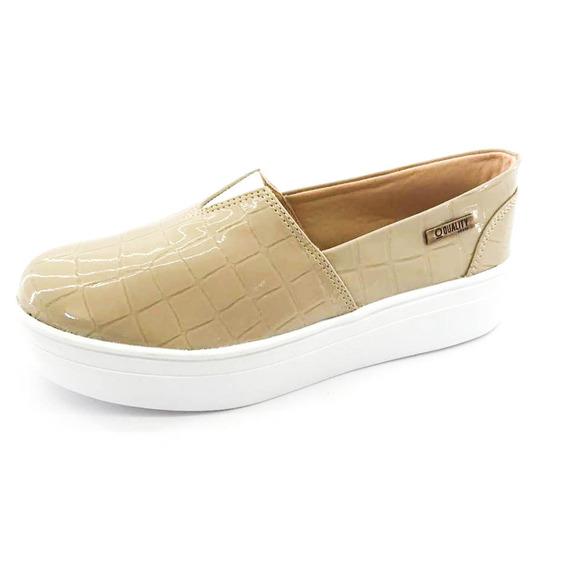 Tênis Flatform Quality Shoes Feminino 003 Verniz Croco Bege
