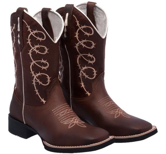 Bota Country Feminina Couro Legítimo Bordad Texana Texasking