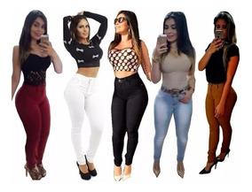 Calças Jeans Plus Size Feminina Cintura Alta Strech Promoção
