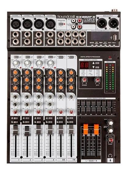 Mesa De Som Analógica Sx 802 Fx Usb 8 Ch - Soundcraft