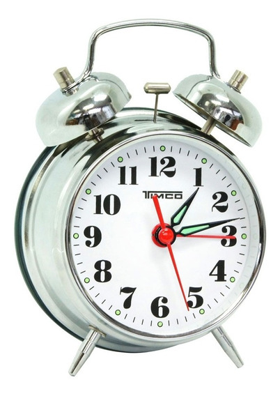 Despertador Doble Campana De Cuerda Cromado Al/8023p