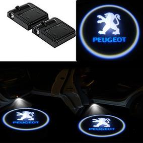 2 Projetor Porta Bem Vindo Logotipo Led A Pilha Peugeot