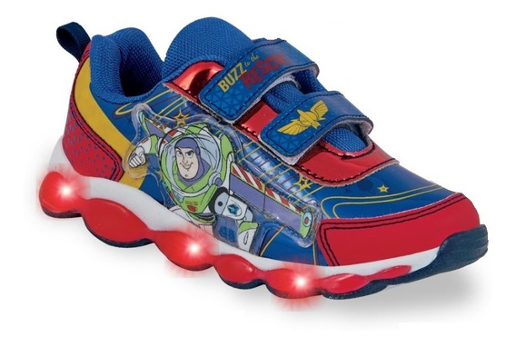 Tenis Infantil Niño Toy Story Buzz Lightyear Luces Led Velcr