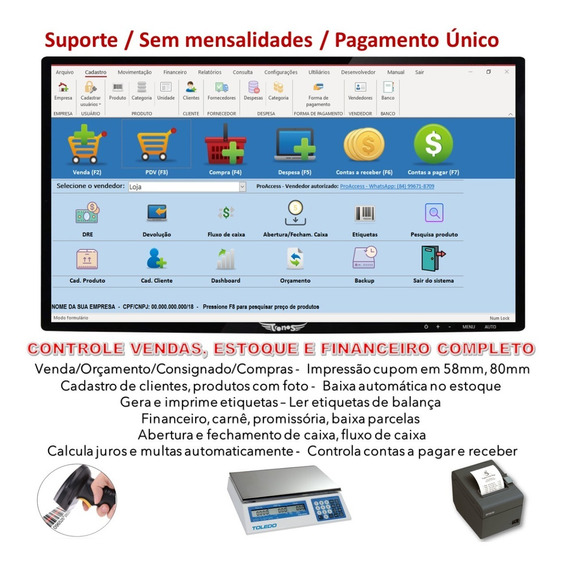 Sistema Pdv, Controle De Estoque, Vendas, Carnê, Promissória