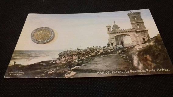 Mar Del Plata Antigua Foto Postal La Belvedere Punta Piedras