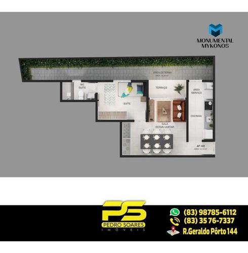 Belíssimo Apt C/ 1 Dormitório À Venda, 41 M² Por R$ 154.000 - Aeroclube - João Pessoa/pb - Ap1892