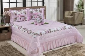 313c2c0c2e Kit Cama Casal Rosas Lilás 7 Peças Casa Conforto Shoptime - Roupa de ...