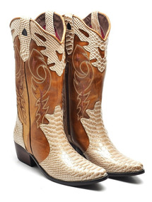 Bota Texana Feminina Couro Cano Longo Bico Fino Country