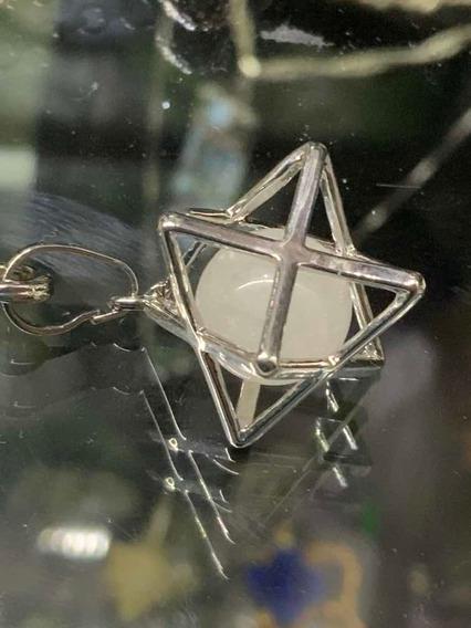 Dije Estrella Merkaba Con Esfera De Cuarzo Natural