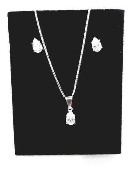 Cordão, Pingente E Brinco De Prata Gotas Em Pedras