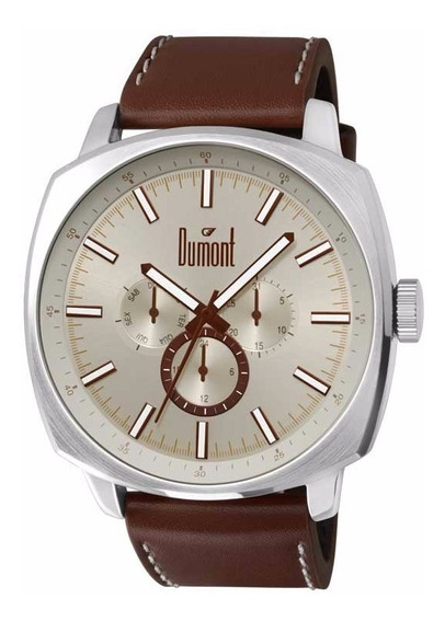 Relógio Dumont Masculino Du6p29abx/0b Couro Marrom