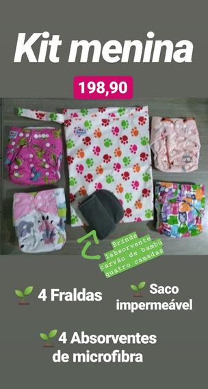 Kit Fraldas Ecológicas Modernas 4 Fraldas + 5 Abs + Saco