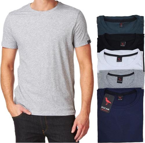 Imagem 1 de 5 de Camisetas Masculinas Basica Gola Redonda 5 Unidades, Algodão