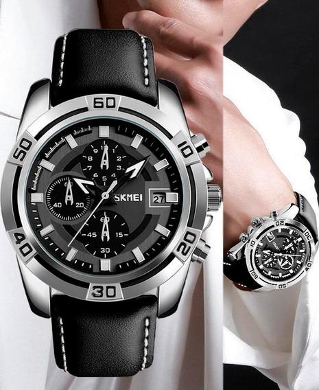Reloj Skmei Moda Cuero 9156 Cronógrafo Resiste Agua Original