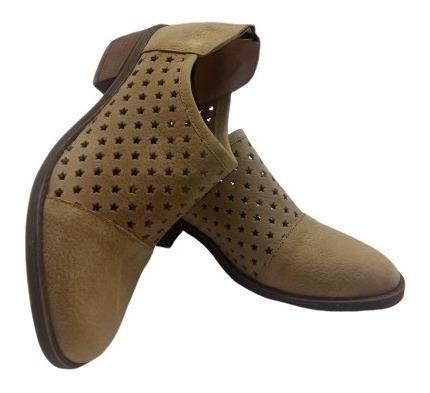 Botinetas Zapatos Calado Cuero Texana Moda Mujer 465 2019