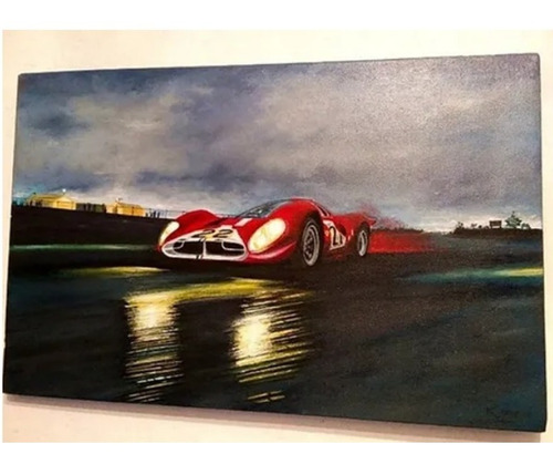 Pintura Cuadro En Tela Al Óleo Firmada Auto Ferrari 330