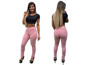 Calça Jeans Feminina Estilo Pitbull Rasgada Levanta Bumbum