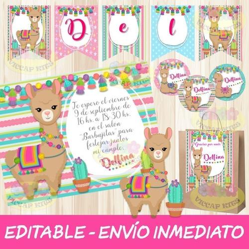 Kit Imprimible Llamas Alpacas Editable Decoración Candy Bar