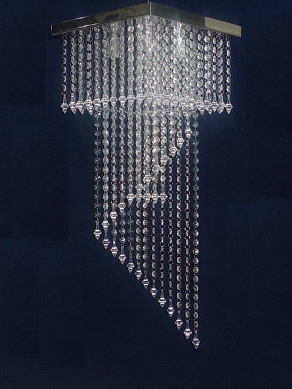 Lustre Art. Crist Acril Espiral 75cm Base31x31 Inox 254.014i