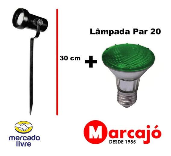 Kit Espeto De Jardim Preto + Lâmpada Par 20 Verde