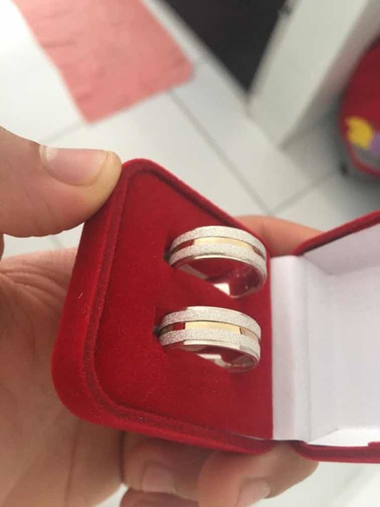 Aliança De Prata 925 Diamantada , Com Fio De Ouro 18k , Nova