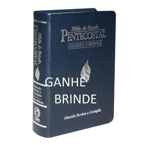 Bíblia De Estudo Pentecostal Com Harpa Media Luxo Azul