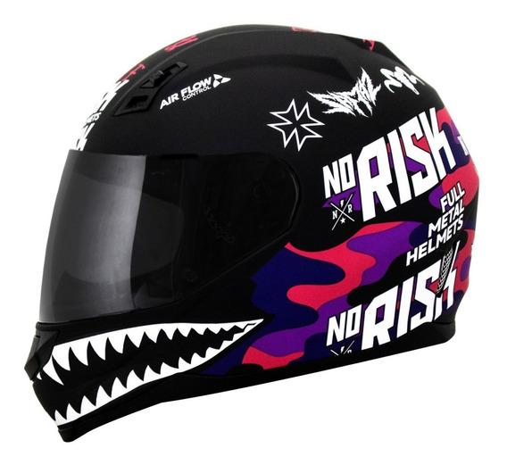 Capacete Feminino Norisk Ff391 Ride Hard Preto Fosco Rosa