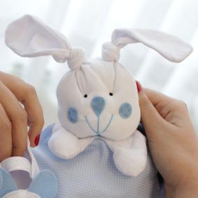 Naninha Malha Tricoline P/ Bebê Prendedor De Chupeta Menino