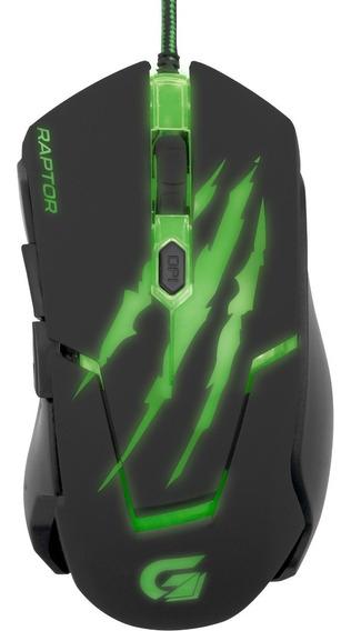 Mouse Gamer Usb 3200 Dpi Raptor Om-801 Preto/verde Fortrek