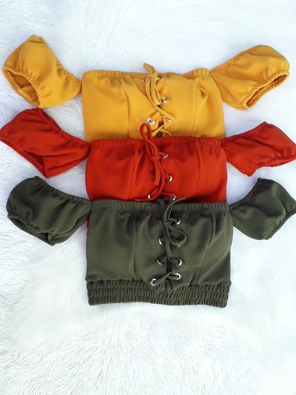 Top Cropped Blusa Curta Novo Modelo Com Bojo