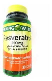 Suplemento Resveratrol 250mg Spring Valley Com 30 Cápsulas