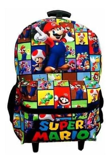 Mochila Mario Bros Games Rodinhas Infantil Juvenil