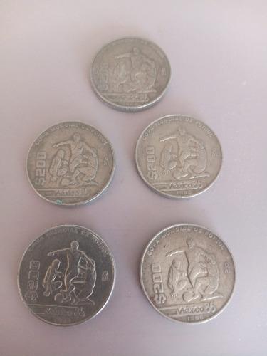 Imagen 1 de 2 de 5 Monedas $200 México Mundial 1986
