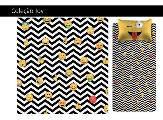 Jogo De Lençol Infantil Solteiro Malha Joy Emojis Portallar