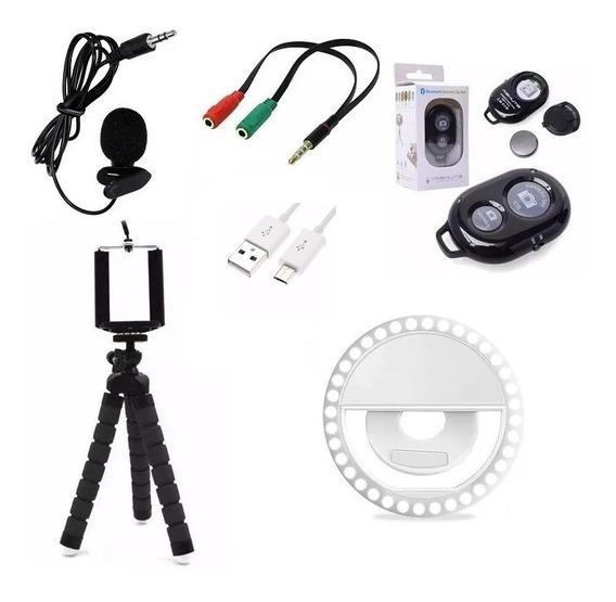 Kit Youtubers Ring Light + Microfone + Controle + Mini Tripé