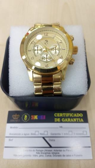 Relógio Original Atlantis Estilo Michael Kors Em Aço Dourado