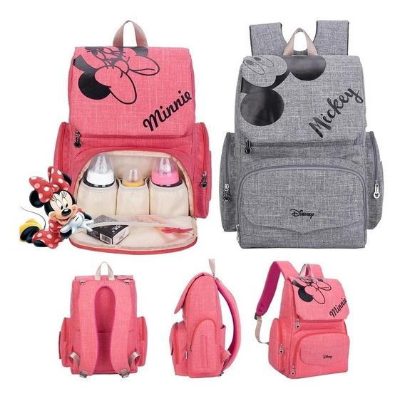 Pañalera Disney Mochila Bebe Mickey Minnie Mouse +regalos Rg