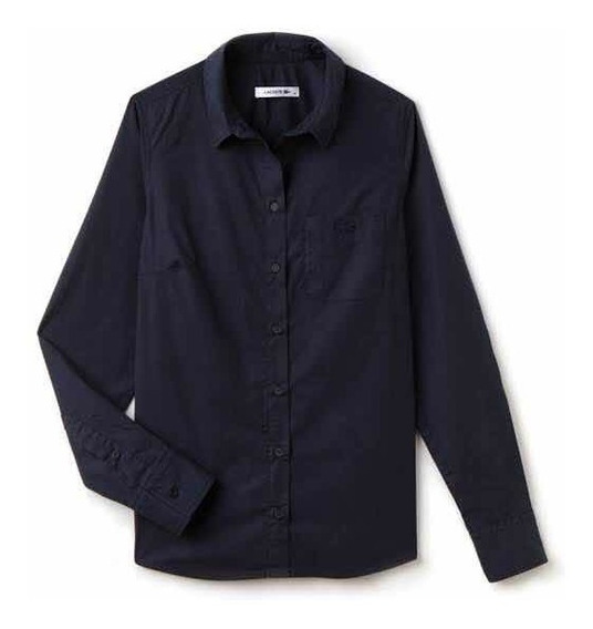 Camisa Lacoste Dama Navy Blue A Manga Larga Nueva Y Original