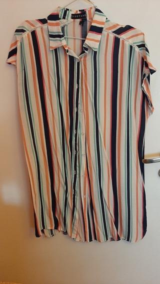 Camisa Larga (vestido) De Mujer Rayada De Colores Talle S