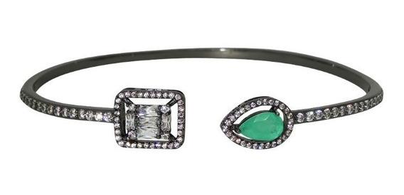 Bracelete Gota Turmalina Fusion E Zircônia Ródio Negro