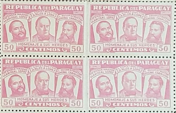 90 Estampillas De Paraguay - Homenaje A Sus Héroes 1954