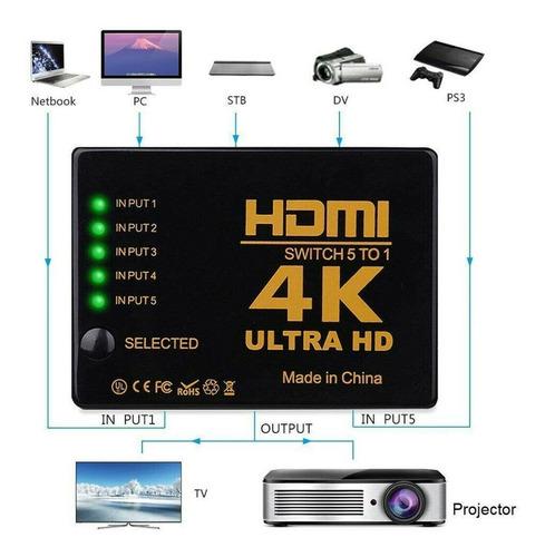 Selector Splitter 5 En 1 Hdmi 1080p + Control Ir