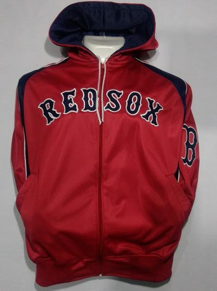 Chamarra Con Gorro De Los Red Sox De Boston, Color Roja.