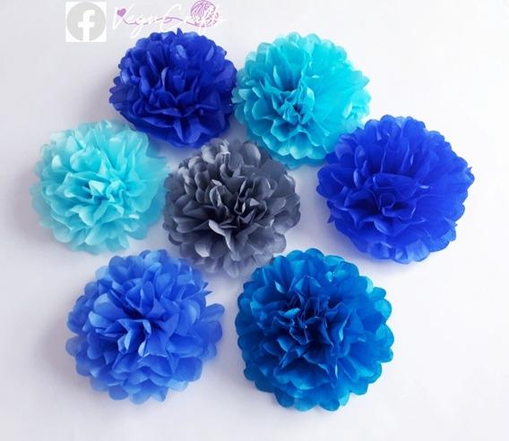 Flores De Papel, Flores Pompon En Papel China 10 Ó 15 Cms