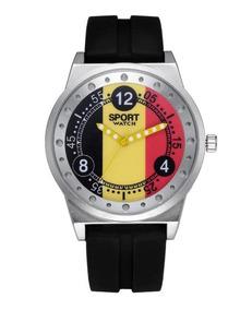 Relógio Mostrador Alemanha Flag Pulseira Silicone